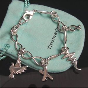 Tiffany&Co 4 Charm Bracelet dangle